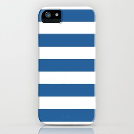 Lapis lazuli - solid color - white stripes pattern iPhone Case