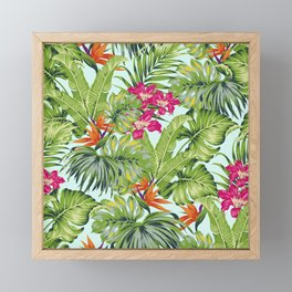 Bird of Paradise Greenery Aloha Hawaiiana Rainforest Tropical Leaves Floral Pattern Framed Mini Art Print