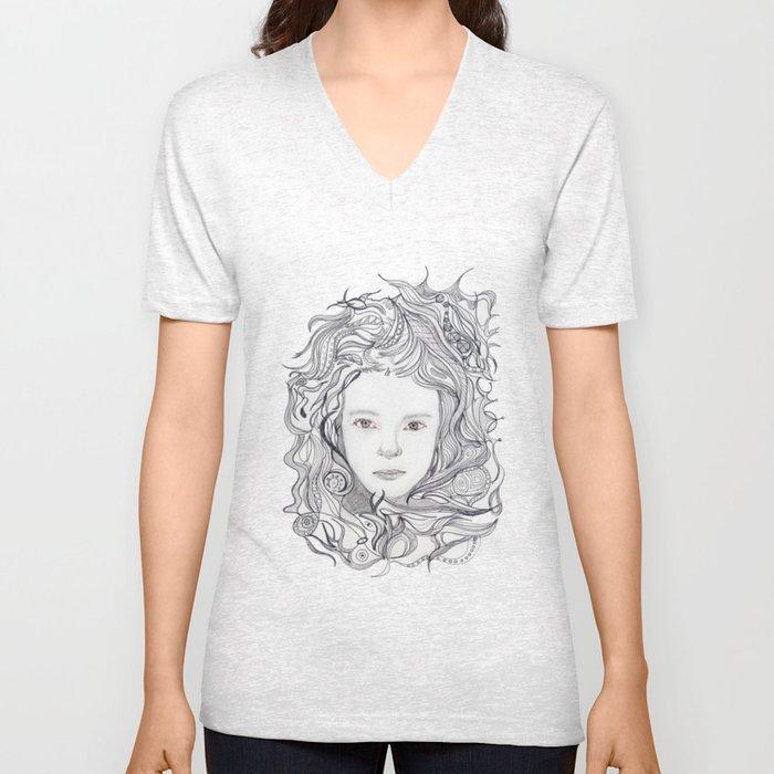 girl - curly doodle hair Unisex V-Neck