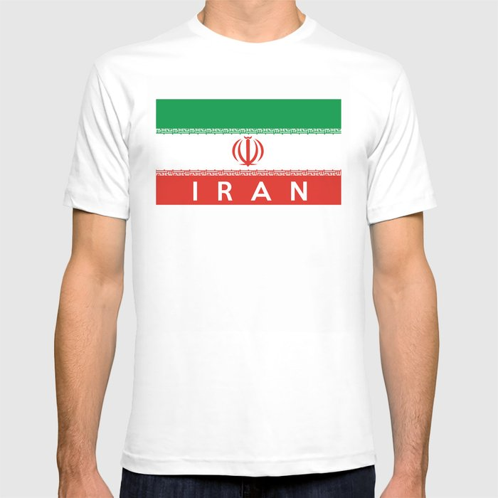 17cf6616c Iran country flag name text T-shirt by tony4urban