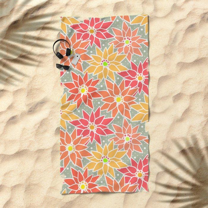 Poinsettia. Retro. Beach Towel