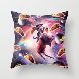 Cowboy Space Cat On Goat Unicorn - Taco Throw Pillow