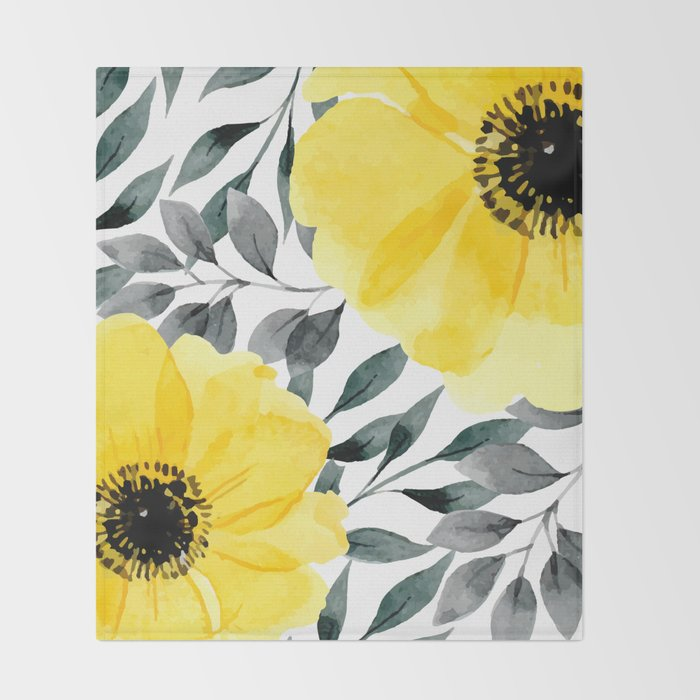 Big yellow watercolor flowers Throw Blanket