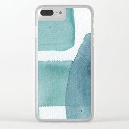 Blue Vibrance Abstract Painting Clear iPhone Case
