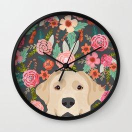 Yellow Lab dog portrait labrador retriever dog art pet friendly florals floral Wall Clock