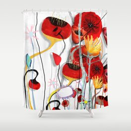 Rustic Poppy meets saturated brights  Shower Curtain