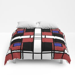 Neoplasticism symmetrical pattern in Well Read (red) Comforters
