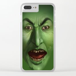 Green Witch face Clear iPhone Case