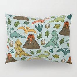 Dinosaur Print, Dino, Jurassic, Jurassic Art, Fossils, Volcanos, T-Rex, Light Blue Pillow Sham