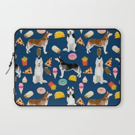Husky siberian huskies junk food cute dog art sweet treat dogs pet portrait pattern Laptop Sleeve