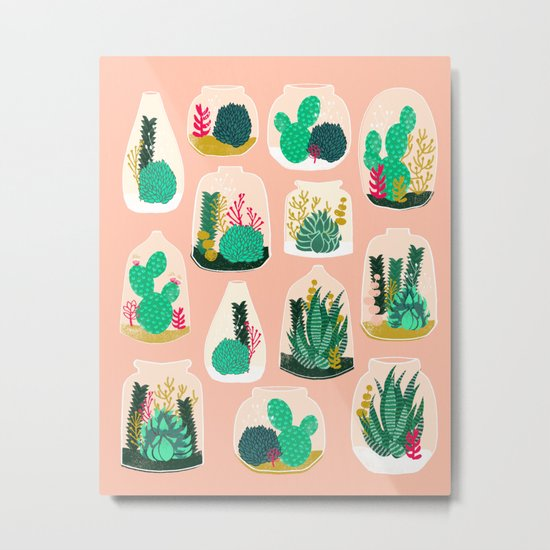 Terrariums - Cute little planters for succulents in repeat pattern by Andrea Lauren Metal Print
