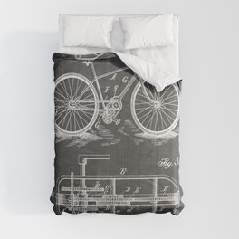 Bike Patent - Bicycle Art - Black Chalkboard Comforters