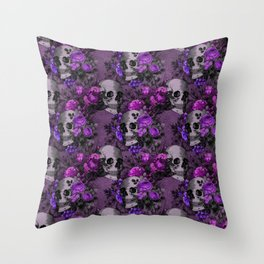 Gothic Flower Skulls Throw Pillow