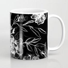 Boldly White - painted ink flowers on black background Coffee Mug