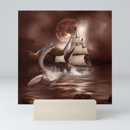 Awesome seadragon with ship Mini Art Print