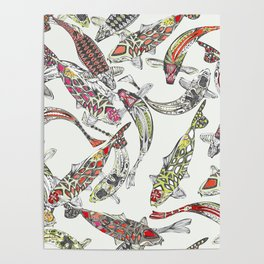 lucky koi off white Poster