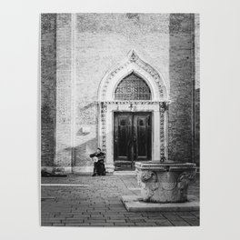 Street musician in Venice Italy Poster