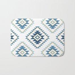 Aztec Style Motif Pattern Blues White Gold Bath Mat