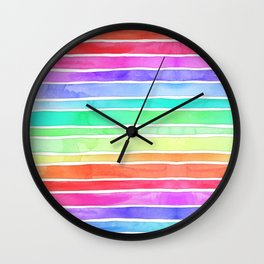 Bright Rainbow Colored Watercolor Paint Stripes Wall Clock