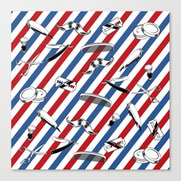 Barber Shop Pattern Canvas Print