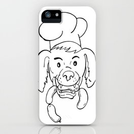 Chef Dog Biting Sausage String Cartoon Black and White iPhone Case
