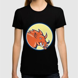 Razorback Head Charge Circle Cartoon T-shirt