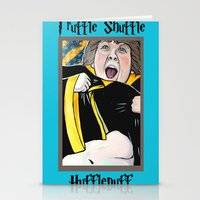 hufflepuff Stationery Cards featuring Truffle Shuffle Hufflepuff by Portraits on the Periphery