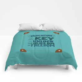 Lab No. 4 Education Is the Key George Washington Carver Inspirationa Quote Comforters