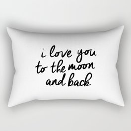I Love You to the Moon and Back black-white kids room typography poster home wall decor canvas Rectangular Pillow
