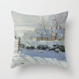 Monet, The Magpie (La Pie) (Die Elster) 1868-1869 Throw Pillow