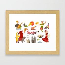 Spain traditional symbols set. Travel tourist element.Traditional spainish corrida, flamenco, guitar Framed Art Print