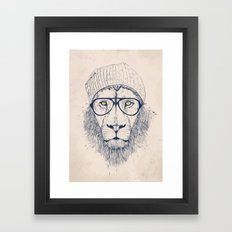 Cool lion Framed Art Print