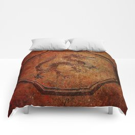 Distressed Chinese Dragon In Octagon Frame Comforters