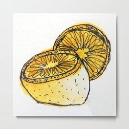 Watercolor Lemons Metal Print