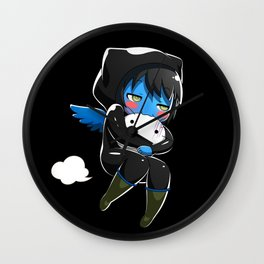 Fuzzy Chibi Luc (Expression 2) w/ Black Background Wall Clock