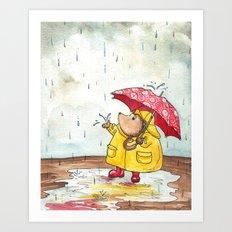 Rainy Day Hedgehog Art Print