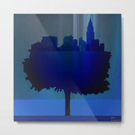 Point of view on the city blue Metal Print