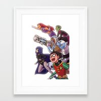 teen titans Framed Art Prints featuring Teen Titans by Kelly Kao