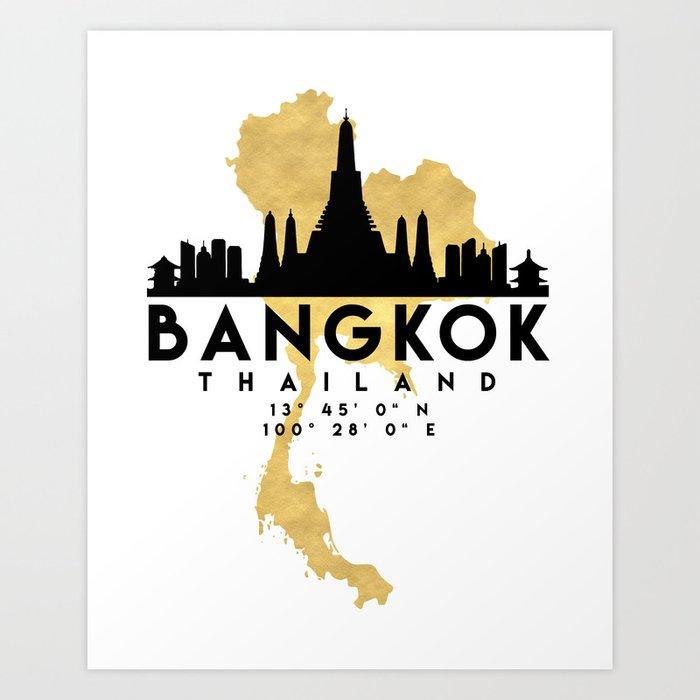 Bangkok thailand silhouette skyline map art art print