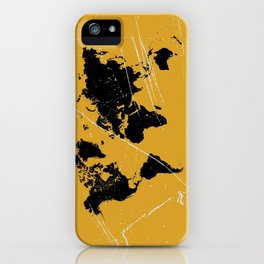 Grunge world map iPhone Case
