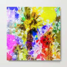 palm tree with colorful painting texture abstract background Metal Print