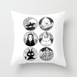 Ghibli Characters Throw Pillow