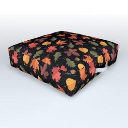 Autumn Leaves Pattern Black Background Outdoor Floor Cushion