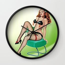 Burlesque Vintage Pinup Girl Wall Clock