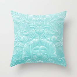 Robin Egg Blue Tooled Leather Throw Pillow
