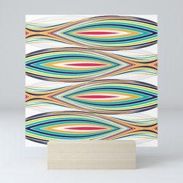 Colorful abstract lines wavy pattern Mini Art Print