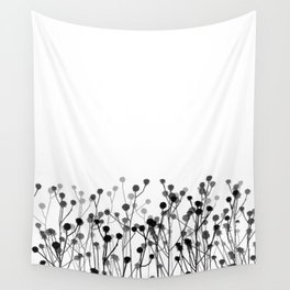 Minimalistic Botanical Pattern In Black White And Grey Wall Tapestry