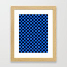 Black and Brandeis Blue Checkerboard Framed Art Print