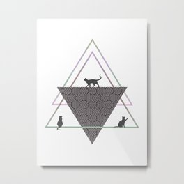 Cats and Geometric Metal Print