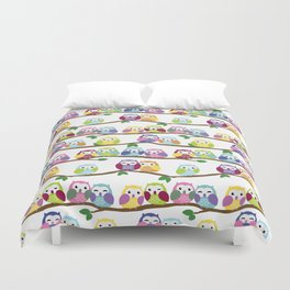 Colorful Owls On Branches Duvet Cover